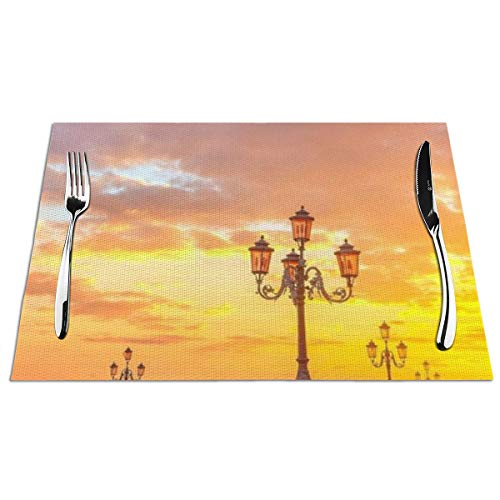 Yesliy Set of 6 Placemats,Washable Heat Resistant Non-Slip Dining Table Mats,Woven PVC Place Mat for Garden BBQ Outdoor,Piazza San Marco Sunrise Reflection Sunset