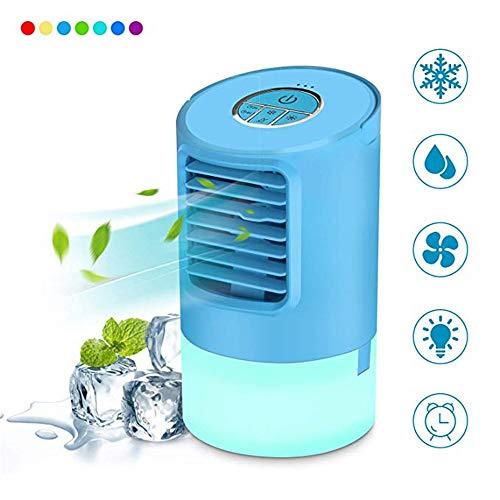 QHGao Koelventilator voor draagbare luchtkoeler, ledlamp in 7 kleuren, persoonlijke tafelventilator, ultrastil, mini-koeler met luchtcirculatie door verdamping (2 stuks)