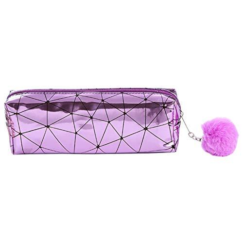 KunmniZ - Estuche holográfico con láser iridiscente para niñas, estuche para lápices de pelo y bolitas escolares, artículos de papelería, PU, morado