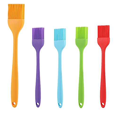YUWLDD Basting Brush-Silicone Heat Resistant Oil Brushes,for Grilling,Baking, BBQ and Cooking,Food Grade,Dishwasher Safe 5 Pack,Set of 1 Large & 4 Small