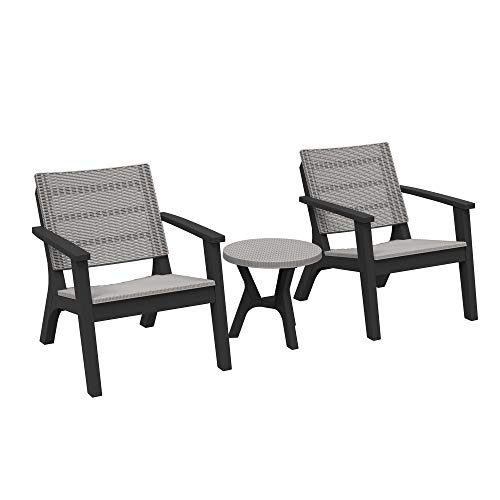 Outsunny 3 Pieces Patio PP Rattan Effect Bistro Conversation Set Coffee Table and Chair Set for Outdoor Yard Grey