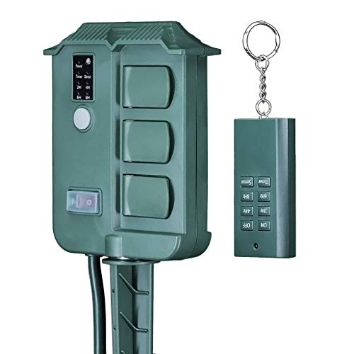 Uninex EC1605 Outdoor Yard Stake with Remote Control, Timer, Photocell Light Sensor, Weatherproof, Extra Long, 6-Outlet, UL Listed, 6-Foot