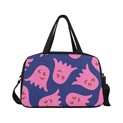 Sports Gym Bag Seamless Pattern Pink Ghosts On Blue Travel Bags Duffle Bag Sports Luggage Workout Fitness Handbag Overnight Shoulder Bag for Outdoor