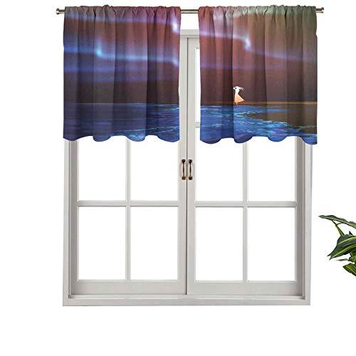 Hiiiman Cortinas térmicas con cenefa para mujer en la playa, diseño psicodélico, Aurora Borealis Sky Star, juego de 2, 137 x 60 cm para dormitorio con bolsillo para barra