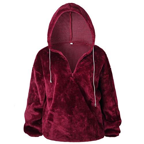Women Hoodie Warm Lightweight Autumn Winter Sweatshirt Fleece Jacket Sweatshirt Women Zip Collar Loose Cozy Hoodie Tops M