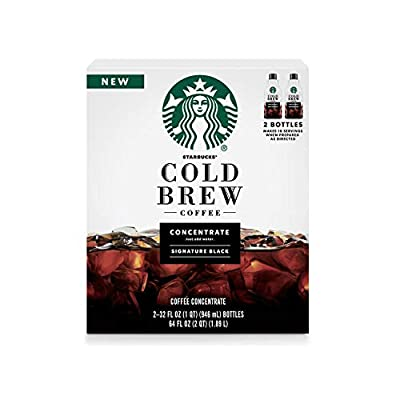 Starbucks Coffee Cold Brew Concentrate 2 Bottles Of 32 Fl Oz Net Wt 64 Fl oz, Signature Black, 64 Fl Oz