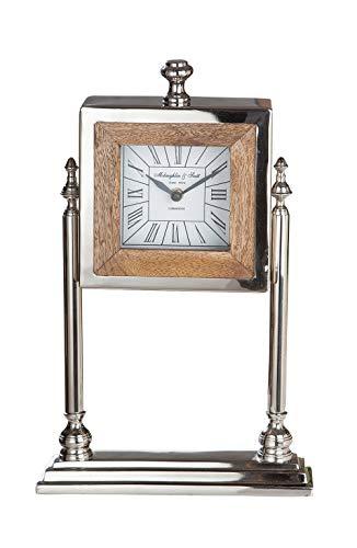 GILDE klok - metalen staande klok met hout voor een AA batterij H 37 cm B 23 cm
