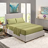 Nestl Luxury Queen Sheet Set - 4 Piece Extra Soft 1800 Deep Pocket Bed Sheets with Fitted Sheet, Flat Sheet, 2 Pillow Cases, Hotel Grade Comfort and Softness - Sage Olive Green