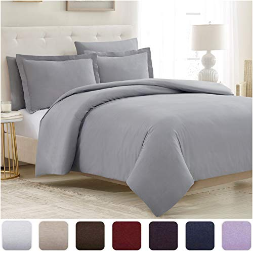 Mellanni Duvet Cover Set 5pcs - Soft Double Brushed Microfiber Bedding with 2 Shams and 2 Pillowcases - Button Closure and Corner Ties - Wrinkle, Fade, Stain Resistant (King/Cal King, Light Gray)