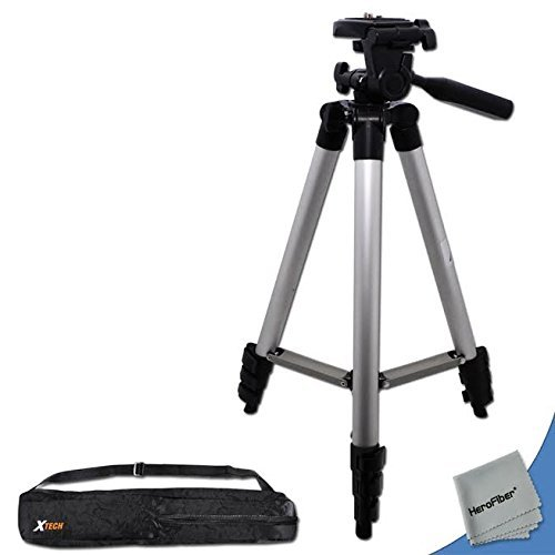 60' Lightweight Photo Tripod & Carrying Case for Canon EOS M Compact Systems, EOS Rebel T1i, T2i, T3, T3i, T4i, T5, T5i, SL1 (100D/550D/600D/650D/700D/1100D/1200D) DSLR Cameras w/HeroFiber Cloth