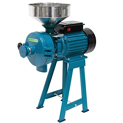 Grain Mill Dry Wet Grinder, Electric Grain Grinder Corn Mill, 110V 3000W Wheat Grinder Mill, Feed Mill Wet Dry Cereals Grinder Corn Grain Coffee Wheat Feed Machine with Funnel for Commercial and Home Use (Wet Dry Grinder)