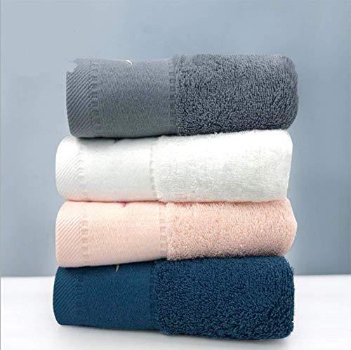 RTYUI Toalla de algodón de fibra larga, rosa, gris, azul pavo real, blanco puro, para la familia, viajes, piscina, camping, gimnasio o cualquier otro lugar (4 piezas)