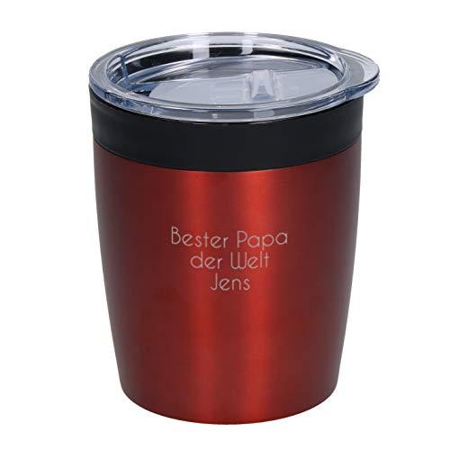 Coffee To Go Becher Thermo Personalisierter Kleiner Kaffeebecher mit Namen 0,28 Liter aus Edelstahl Praktischer Isolierbecher mit Wunschgravur Thermobecher Doppelwandiger Trinkbecher mit Gravur (Rot)