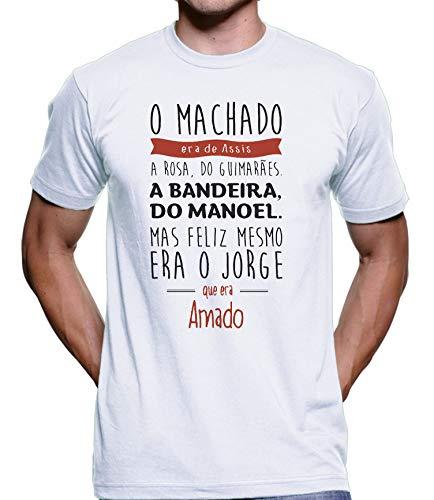 Camiseta Machado De Assis Bandeira Jorge Amado Algodão 1175 (Branco, G)