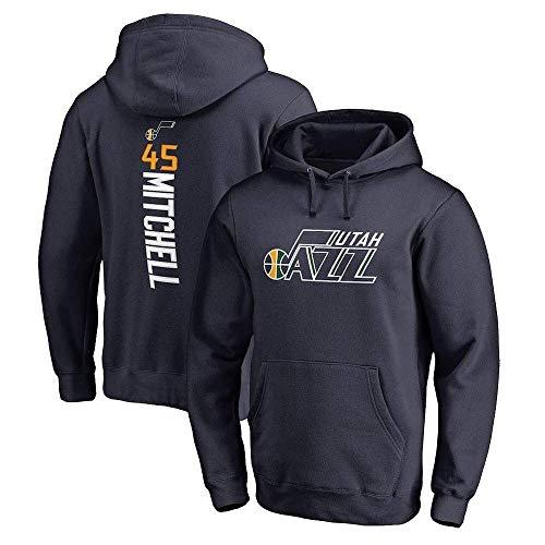 Hoodie de baloncesto para hombres y mujeres NBA Utah Jazz 45 Mitchell Jersey con capucha Pullover Sudadera suelta camiseta (color: verde oscuro, tamaño: s) WANGHN ( Color : Dark Blue , Size : Medium )