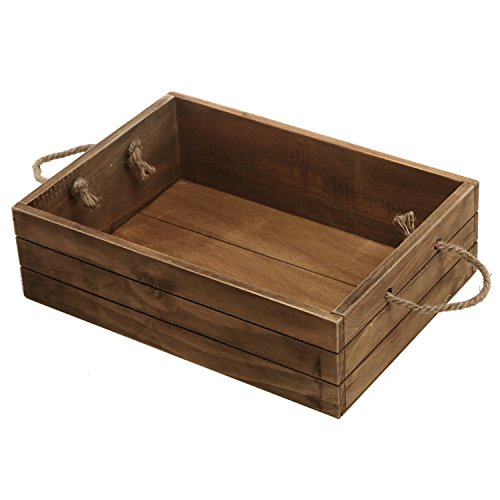 MyGift Rustic Brown Wood Storage Crate Open Top Organizer Bin with Rope Handles