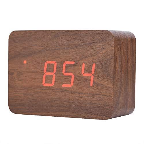 Holz Wecker, Digital Uhr für Schlafzimmer LED Modern Holz Cube Uhr 3 Stufen Helligkeit Temperatur Anzeige mit Sounds Control (Braun)