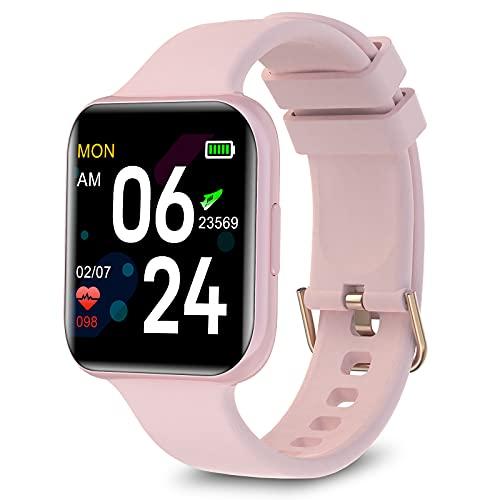 Smart Watch per Telefono Android e iPhone, GROJAT Bluetooth Fitness Tracker, Sensore Incorporato per Monitoraggio della Frequenza Cardiaca, IP68 Contatore Calorico Impermeabile (Touchscreen 38mm)