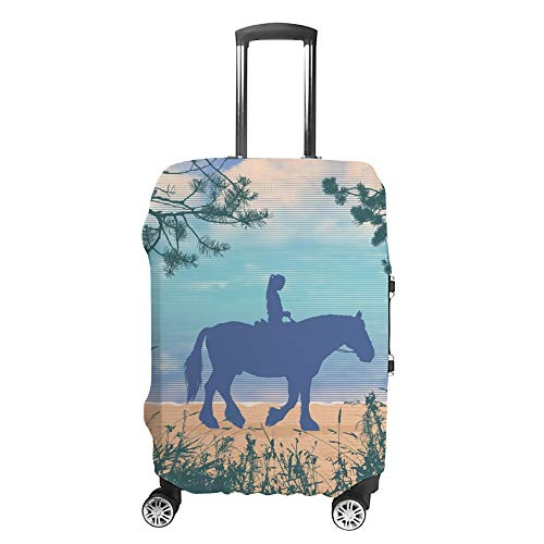 Chehong - Custodia protettiva per valigie, per viaggi con cavallo e tramonto in mare, in fibra di poliestere, lavabile, elastica, antipolvere, adatta a 40-70 cm