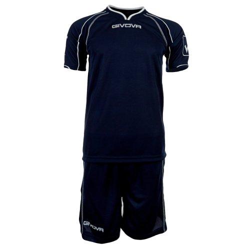 Givova - kit de maillot de football avec short Kit Capo - L, Polyester, Bleu foncé