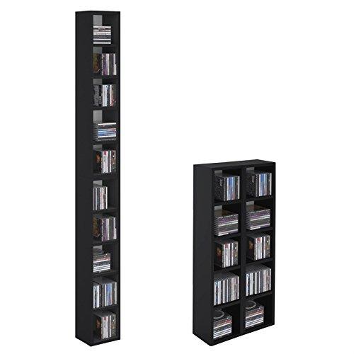 CARO-Möbel CD DVD Regal Ständer Aufbewahrung Chart in schwarz mit 10 Fächern für bis zu 160 CDs, 20x186 cm (Breite x Höhe)