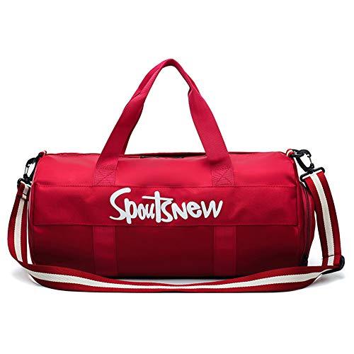 Bolso de viaje para mujer, para deportes al aire libre, para llevar en el gimnasio, con compartimento para zapatos, para hombres y mujeres, color rojo, tamaño talla única