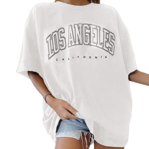 Tomwell Vintage Oberteile Damen Oversized Tshirt Lustig Streetwear Sportshirt Kurzarm Sport Oberteile Sweatshirt Rundhals Teenager Mädchen Top Lang Weiß XXL