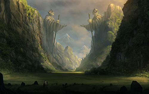 WMYZSHDWZ Painting by Numbers Valley Statue Mountains Fantasy Lord of the Rings for Kid and Adults Beginner Diy Oil Painting kits Acrylic Pigment with Brushes Wooden Framed on Canvas for Living Room