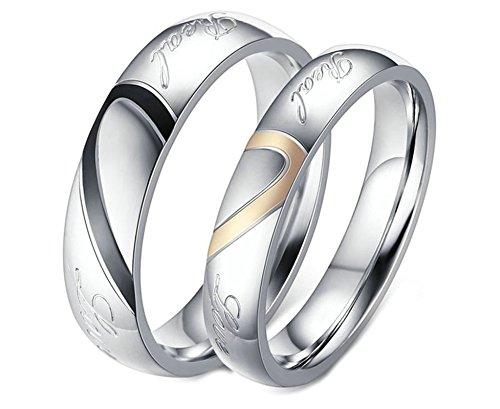Adisaer Ringe Herren Zelda Verlobungsringe Silber Paar Mit Gravur Verlobungsringe Edelstahl Trauring Silber Ring Halb Herz Real Love Herrenring Gr. 52 (16.6) Damenring Gr. 45 (14.3) Hochzeit