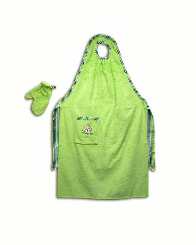 Stay-Dry Bath Apron and Towel, Green