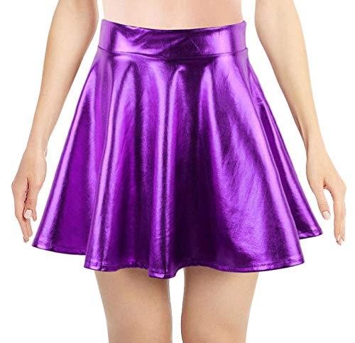 Simplicity Purple Mini Skirt Metallic Skirts for Women Ballet Dance Flared Skater Skirt