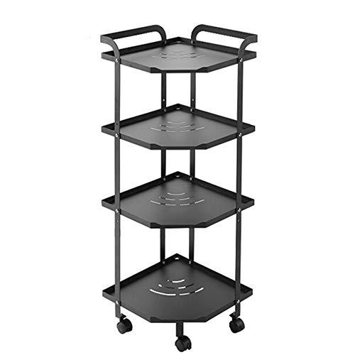 4-Layer Stainless Steel Mobile Storage Trolley, Triangular Table Top Storage Rack, Adjustable Multifunctional Cart (Black)
