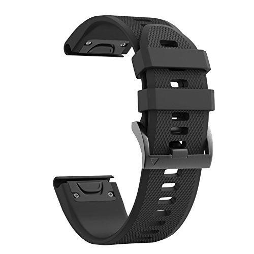 Notocity Compatible Fenix 5X Band 26mm Width Soft Silicone Watch Strap for Fenix 5X Plus/Fenix 6X/Fenix 6X Pro/Fenix 3/Fenix 3 HR/Tactix/Descent MK1/D2 Delta PX/D2 Charlie-Black