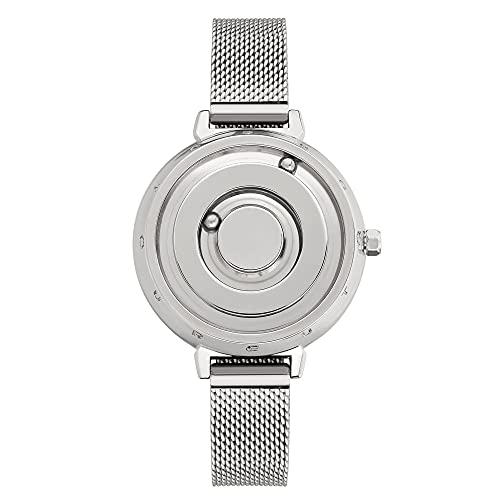 EUTOUR Uhr Damen Armbanduhr, Magnetische Uhren Minimalistische Uhren Schweizer Quarzuhr mit Edelstahl Mesh Armband 36 mm