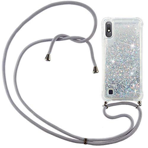 Vepbk Handykette Hülle für Samsung Galaxy A10 Case, Handyhülle Glitzer Flüssig Silikon Weich Case Hülle mit Band Kordel Stoßfest Transparent Cover mit Umhängeband für Samsung Galaxy A10,Silber