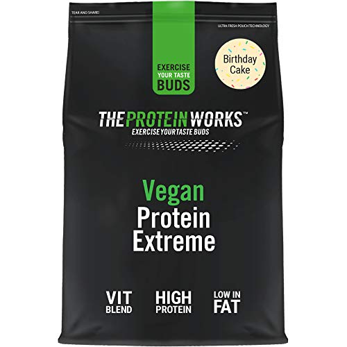Vegan Extreme Protein Powder   100% Plant-Based & Natural   Gluten-Free   Zero Cruelty   Low Fat Shake   THE PROTEIN WORKS   Birthday Cake   1 kg