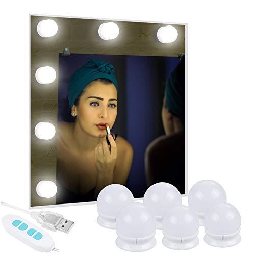 Anpro 6 Ampoules Lumière de Miroir 3 Couleurs Lumineuse- Blanc Froid,Nature,Chaud Lumière LED Dimmable Alimentée Par USB pour Miroir,Maquillage,Coiffeuse,Salle de Bain(Miroir Non Inclus)