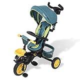 Daliya® Dreirad Kinderdreirad Kinder Lenkstange Fahrrad Baby Kinderwagen Buggy - Türkis 360°...