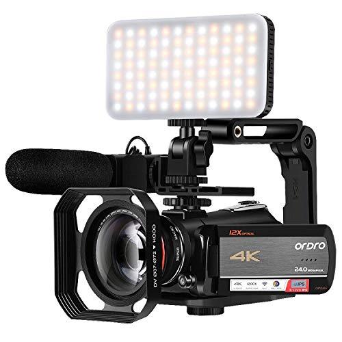 Videocámara 4K ORDRO AC5 UHD Videocámara con Zoom óptico 12x HD 1080P 60FPS Cámara WiFi Videocámara con micrófono, luz de Video, Lente Gran Angular