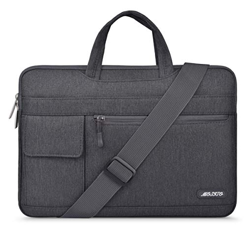 MOSISO Laptop Shoulder Bag Compatible with 13-13.3 inch MacBook Pro, MacBook Air, Notebook Computer, Polyester Flapover Briefcase Sleeve Case, Space Gray