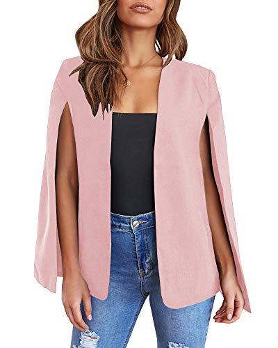 Meilidress Womens CasualCape Open FrontSplit Sleeve Bussiness Blazer Jacket Coat Pink