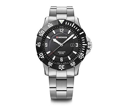 Wenger Reloj Seaforce Esfera Negra, Pulsera de Acero Inoxidable