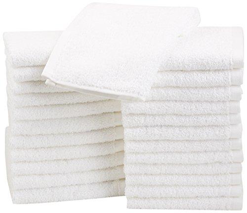 AmazonBasics - Asciugamani in cotone, confezione da 24, Bianco
