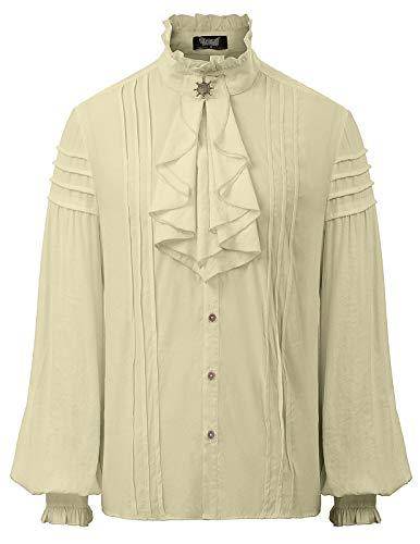 Herren Renaissance Steampunk Victorian Langarm Jabot Kragen Shirt Tops L Khaki