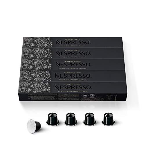 Nespresso - Set de 50Cápsulas -5x 10cápsulas de café espresso Ristretto