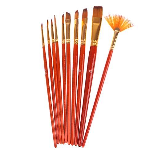 XTYaa Malerpinsel-Set, Nylon, Gouachefarben, runde Spitze, 10 Stück