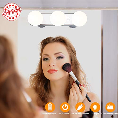Wireless LED Vanity Lights, Upgrade Brightness Travel Portable Makeup Mirror...