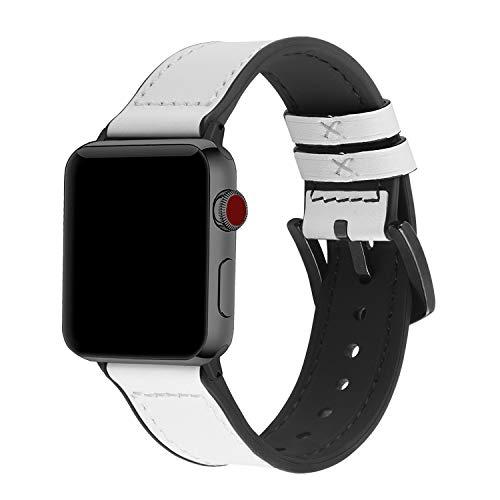 Fullmosa Lederarmband Kompatibel für Apple Watch 40mm, Silikon Uhrenarmband Herren Damen für iWatch Serie SE/6/5/4/3/2/1, 40mm Weiß (Schwarze Hardware)