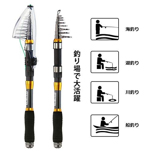釣りサビキサンライク(SANLIKE)釣り竿コンパクトロッド投げ竿サビキカーボン伸縮携帯型初心者用釣り入門釣り具釣竿セット2.1m