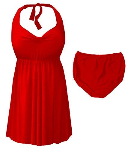 Sanctuarie Designs Red 2 Piece Halter Style Plus Size Swimdress 8X